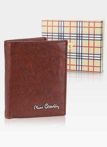 Skórzany portfel męski Pionowy Pierre Cardin Tilak50 1812 RFID Cognac