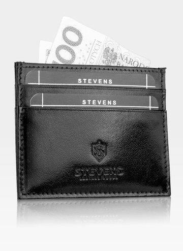 Etui Skórzane Na Karty SLIM Portfe  Cardholder Stevens Czarne