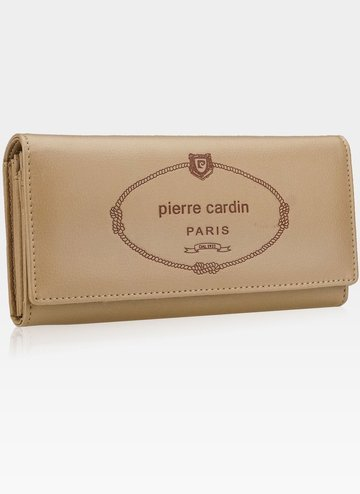Luksusowy Modny Portfel Damski Pierre Cardin Ciemny Beż