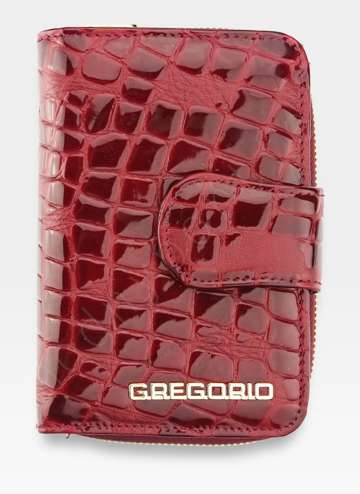 Portfel Damski Gregorio Skórzany Skóra Naturalna Czerwony FS115