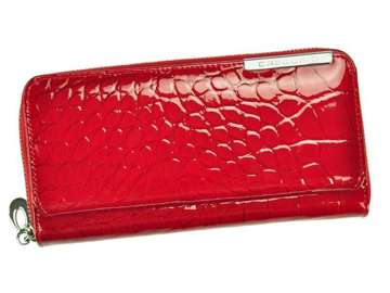 Portfel Damski Skórzany Gregorio BC-111 czerwony Skóra Naturalna Lakierowana