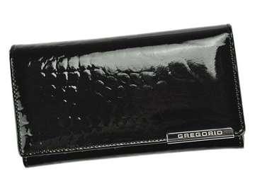 Portfel Damski Skórzany Gregorio BC-114 czarny Skóra Naturalna Lakierowana