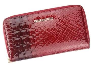 Portfel Damski Skórzany Gregorio BCC-118 czerwony Skóra Naturalna Lakierowana