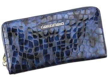 Portfel Damski Skórzany Gregorio FS-119 niebieski Skóra Naturalna Lakierowana