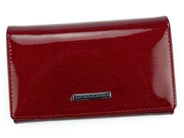 Portfel Damski Skórzany Gregorio LN-101 czerwony Skóra Naturalna Lakierowana