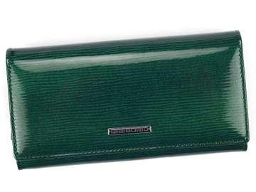 Portfel Damski Skórzany Gregorio LN-106 zielony Skóra Naturalna Lakierowana
