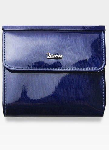 Portfel Damski Skórzany PETERSON 499 Ciemny Niebieski