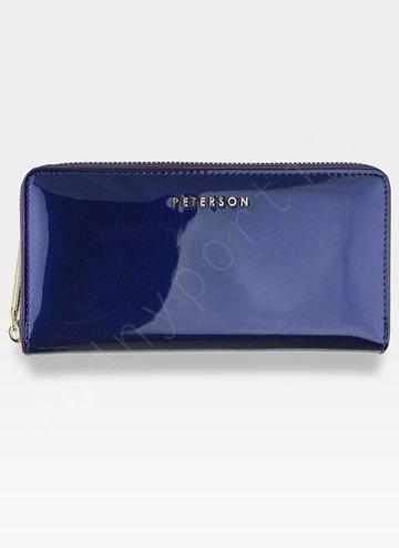 Portfel Damski Skórzany PETERSON 781 Ciemny Niebieski Lakierowany RFID
