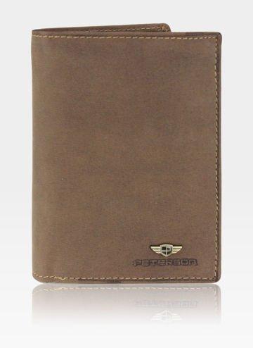 Portfel Męski Peterson Skórzany 324 Nubuk Jasny Brąz RFID