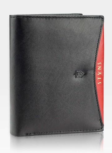 Portfel Męski Skórzany STEVENS Ochrona RFID Czarny + Czerwony Nowoczesny