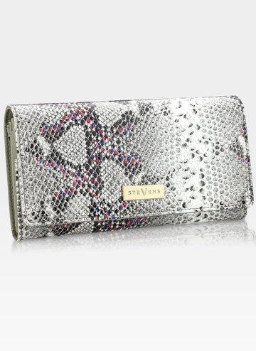 STEVENS portfel damski lakierowany duży skóra Szary + Różowy Błyskotka  106