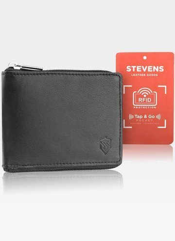 Skórzany czarny portfel męski STEVENS duży na suwak RFID Secure TAP&GO