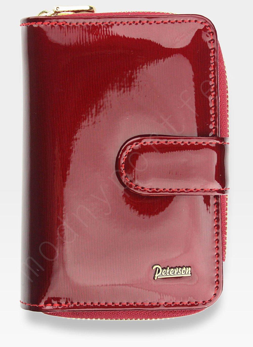 cbff74f7c00e3 Kliknij, aby powiększyć; Portfel Damski Skórzany PETERSON Lakierowany  Ekskluzywny Czerwony 602