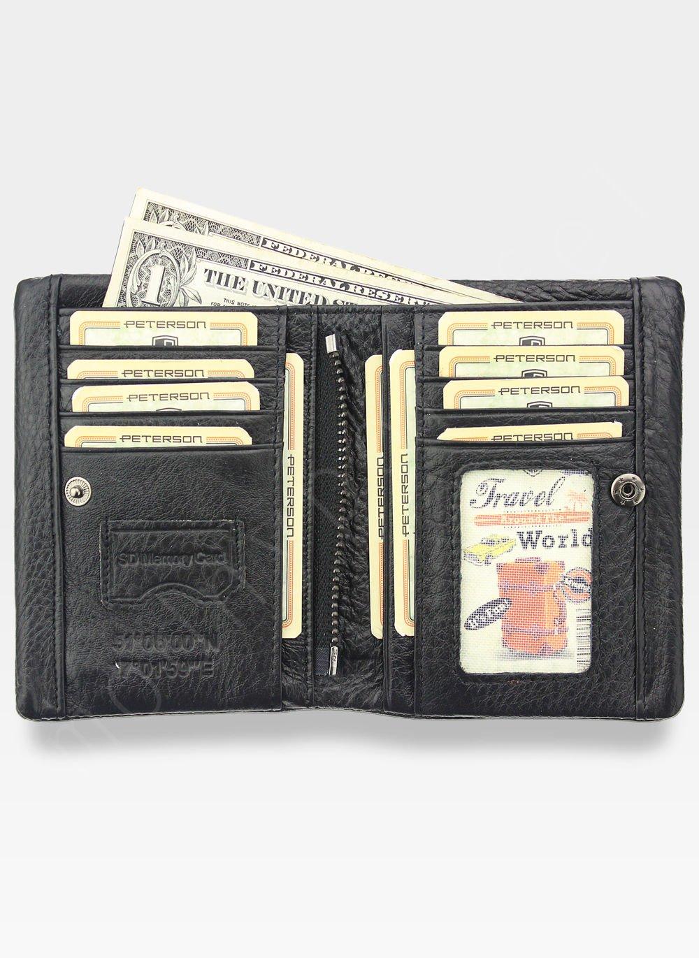 979efcd972bf1 ... Portfel Męski Peterson Skórzany Miękki Skóra Naturalna SD Card 8102  Czarny Kliknij, aby powiększyć ...