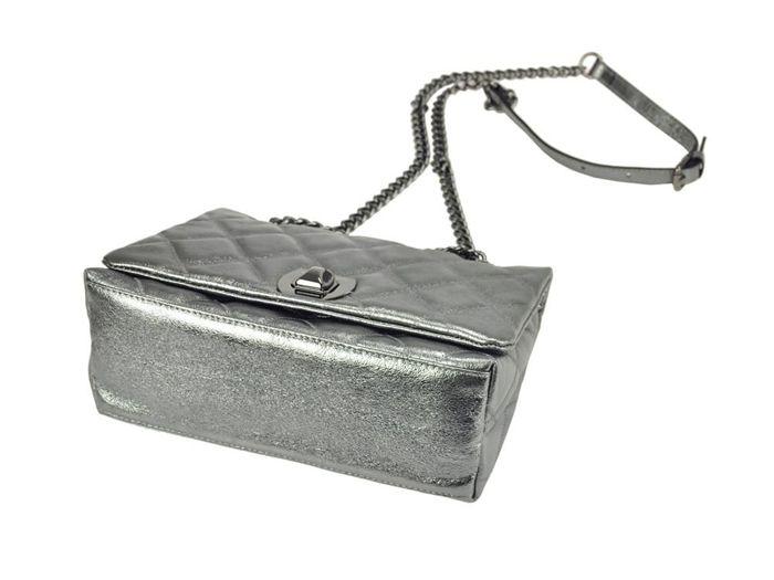 Damska Torebka Skórzana Pierre Cardin 4216 GNC LAMINATO ciemny srebrny