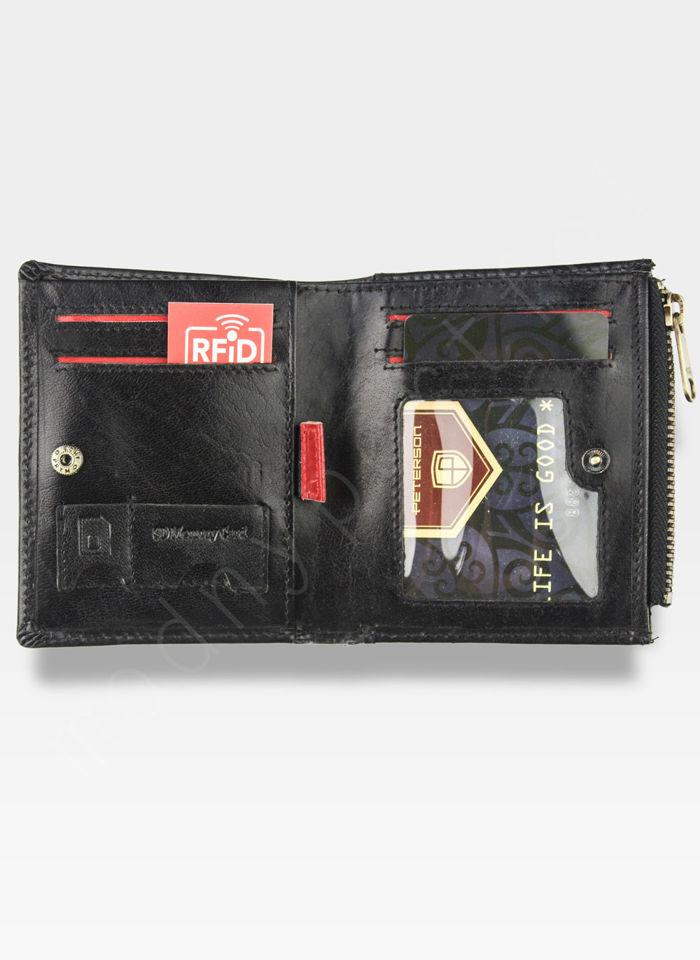 Kompaktowy Portfel Męski  Skórzany Peterson Ciemny Brąz RFID STOP