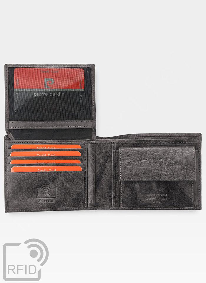 Modny Portfel Męski Pierre Cardin Oryginalny Skórzany Tilak12 8806 Szary RFID