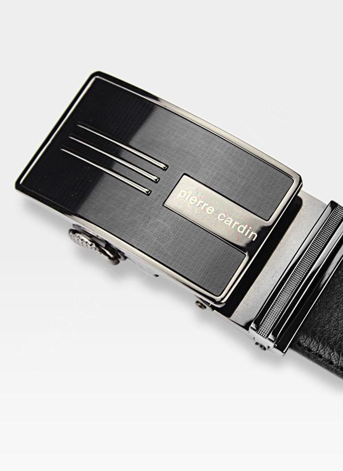 Pasek Skórzany Męski PIERRE CARDIN Czarny Metalowa Klamra Automatyczna 5082