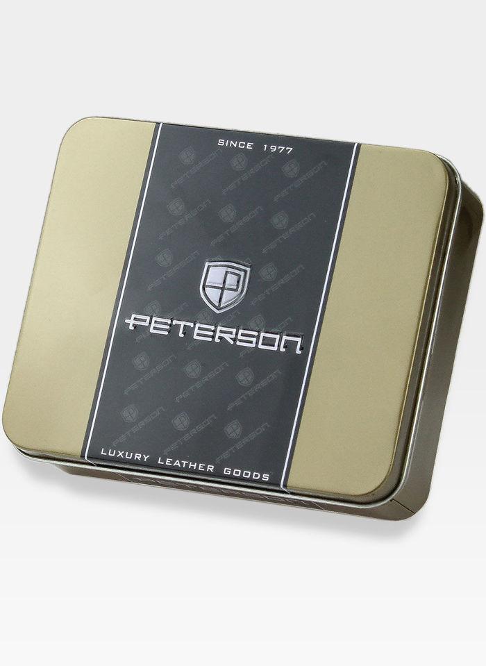 Peterson Portfel Męski Skórzany z wyciąganą wkładką 335 Czarny