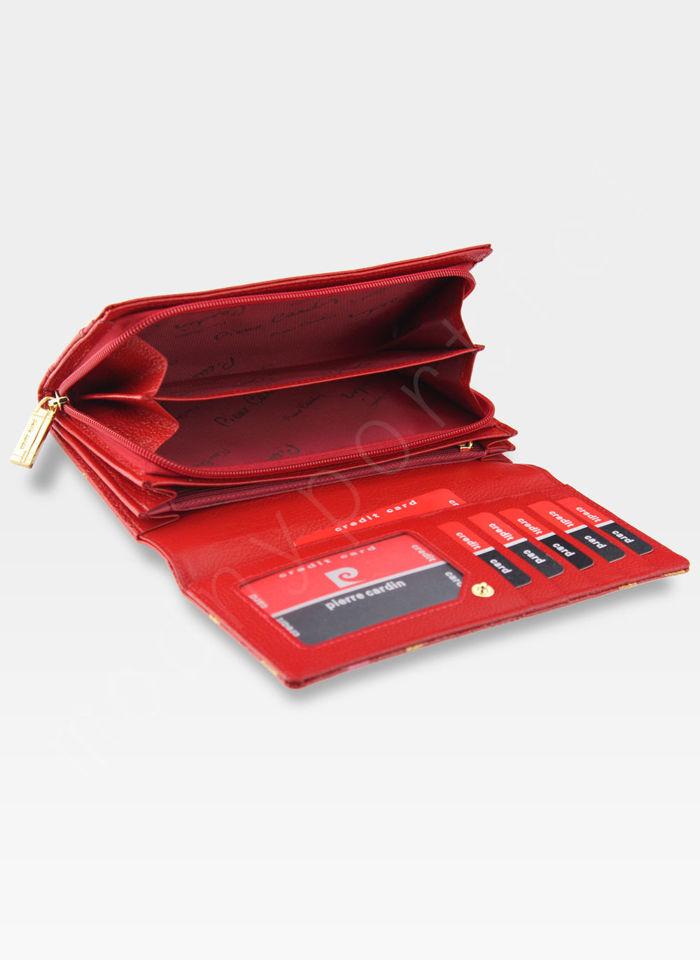Portfel Damski Pierre Cardin Skórzany Czerwony w Liście 04 Plant 106