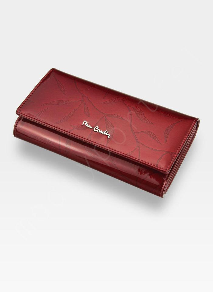 Portfel Damski Pierre Cardin Skórzany Czerwony w Liście 102