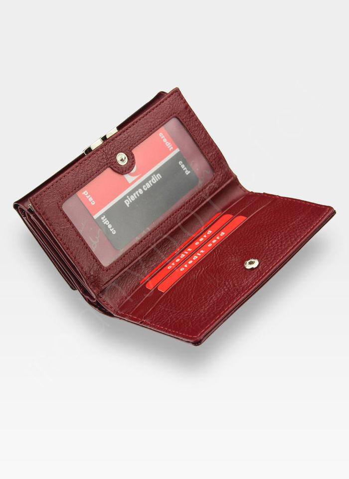 Portfel Damski Pierre Cardin Skórzany Czerwony w Liście 108