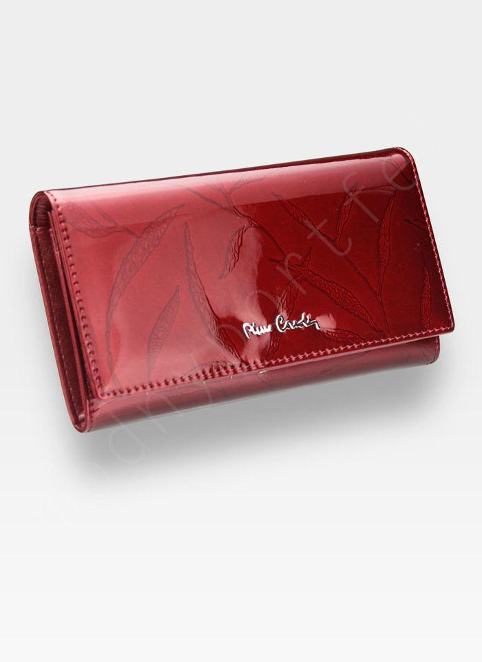 Portfel Damski Pierre Cardin Skórzany Czerwony w Liście 114