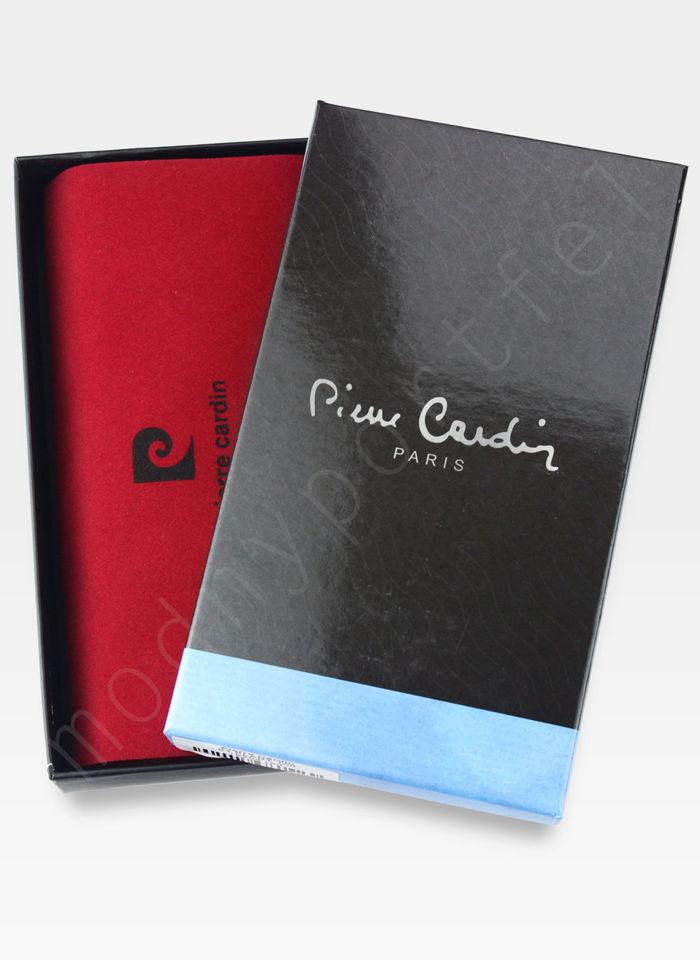 Portfel Damski Pierre Cardin Skórzany Duży Podwójny Suwak Czerwony w Liście 04 Plant 118