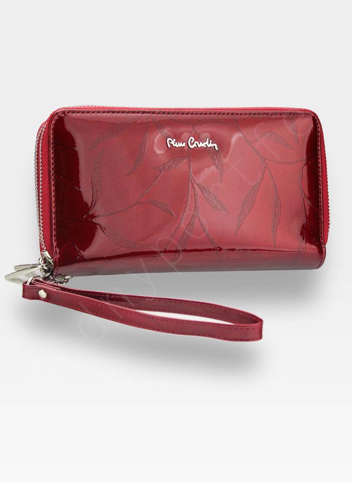 Portfel Damski Pierre Cardin Skórzany Duży Podwójny Suwak Czerwony w Liście 118