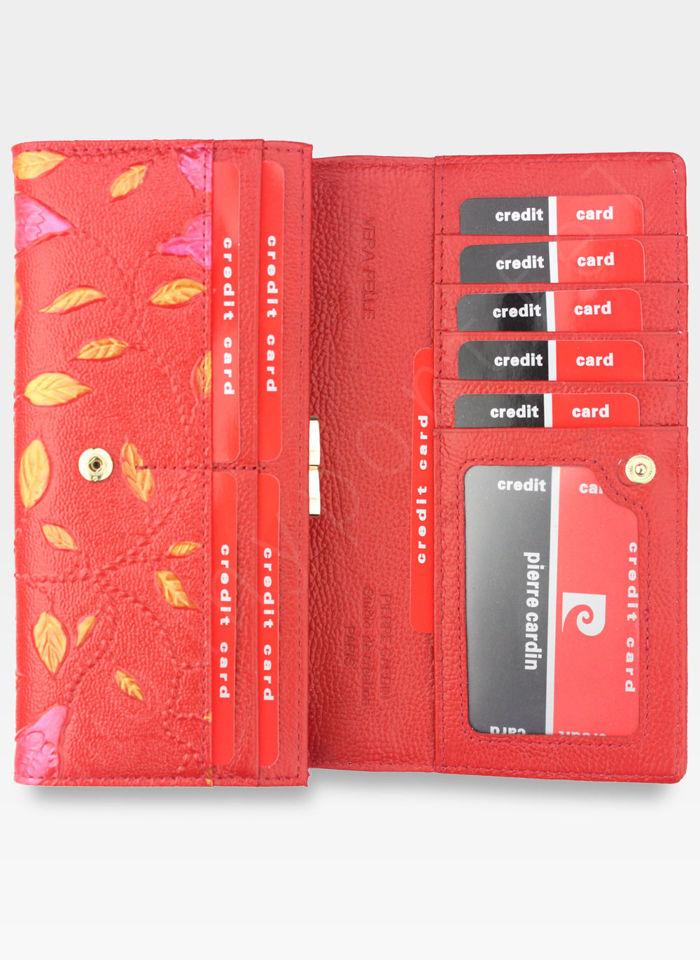 Portfel Damski Pierre Cardin Skórzany Skóra Naturalna Czerwone Liście 04 PLANT 100