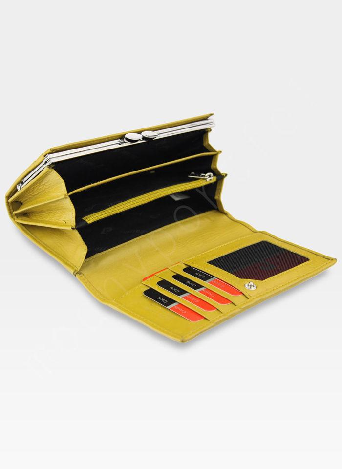Portfel Damski Pierre Cardin Skórzany z Biglem Tilak10 455 Żółty