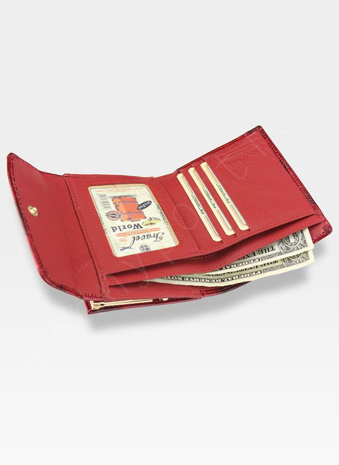 Portfel Damski Skórzany Bigiel PETERSON Czerwone Motyle Lakierowane 401
