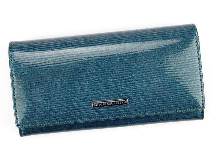 Portfel Damski Skórzany Gregorio LN-100 niebieski Skóra Naturalna Lakierowana