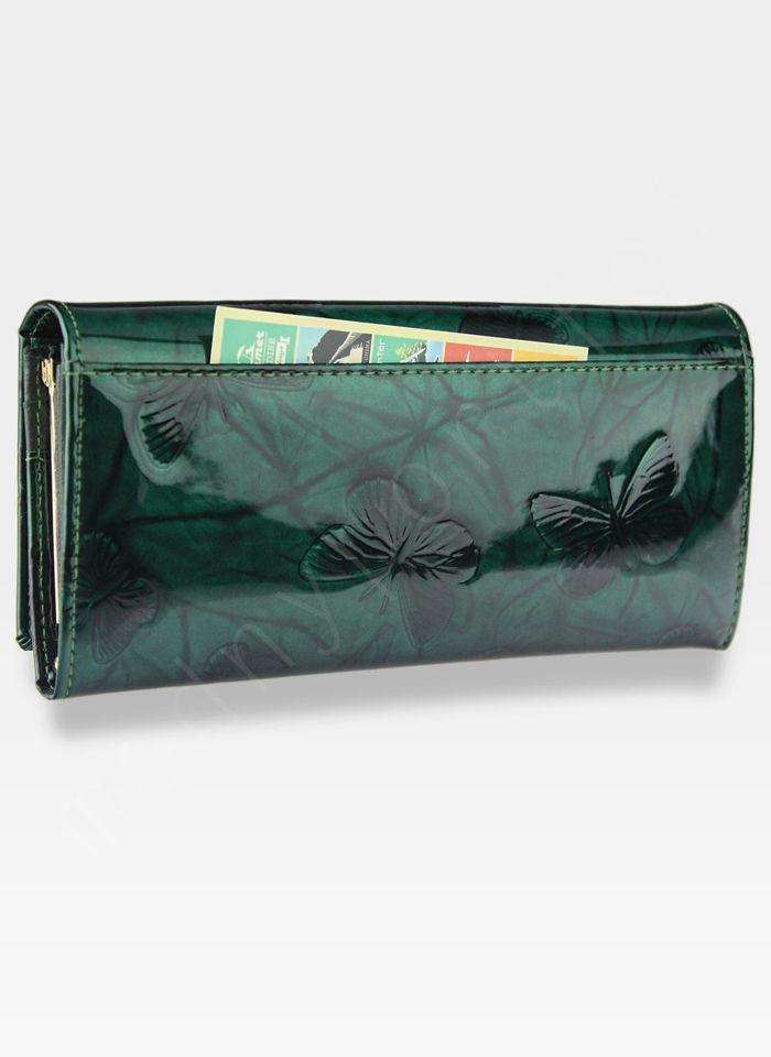 Portfel Damski Skórzany PETERSON 467 Zielone Motyle Lakierowane