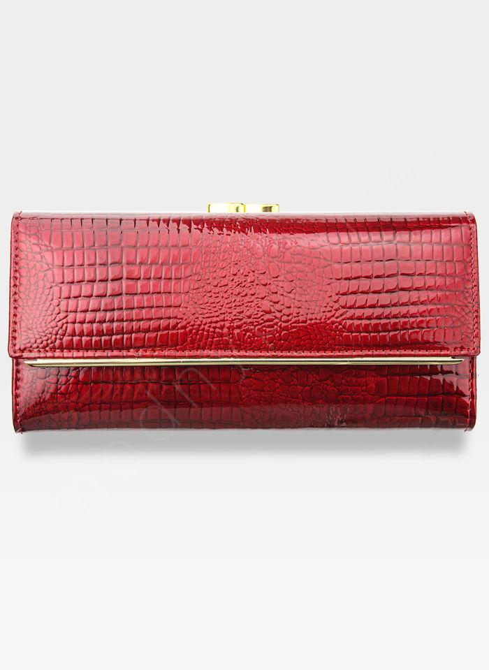 Portfel Damski Skórzany PETERSON 697A Czerwony + Beż