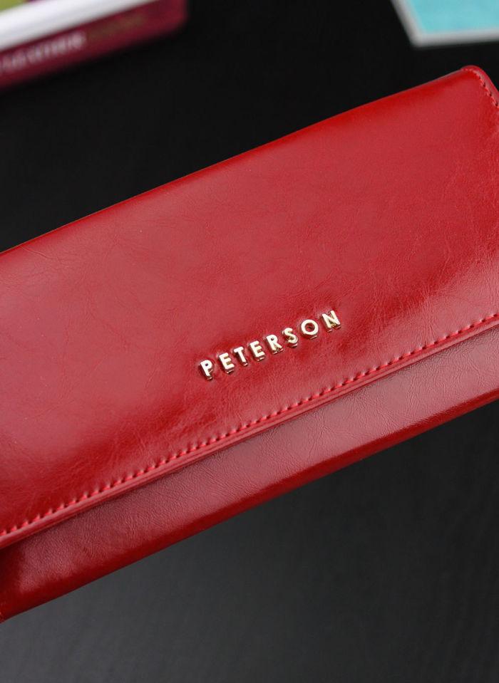 Portfel Damski Skórzany PETERSON 705 Czerwony Rozbudowany z wysuwaną wkładką