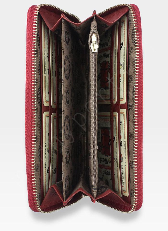 Portfel Damski Skórzany PETERSON 780 Czerwony + Czarny