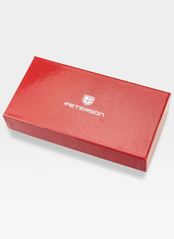Portfel Damski Skórzany PETERSON Dwukolorowy 484.01 Czerwony multi