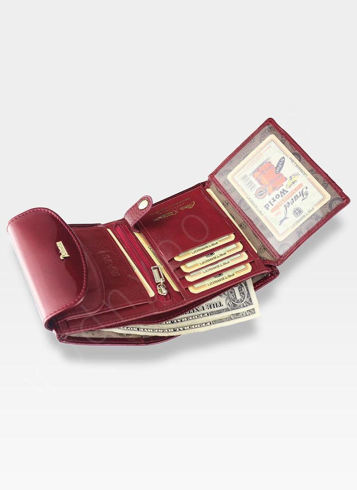 Portfel Damski Skórzany PETERSON Elegancki Lakierowany System RFID 405