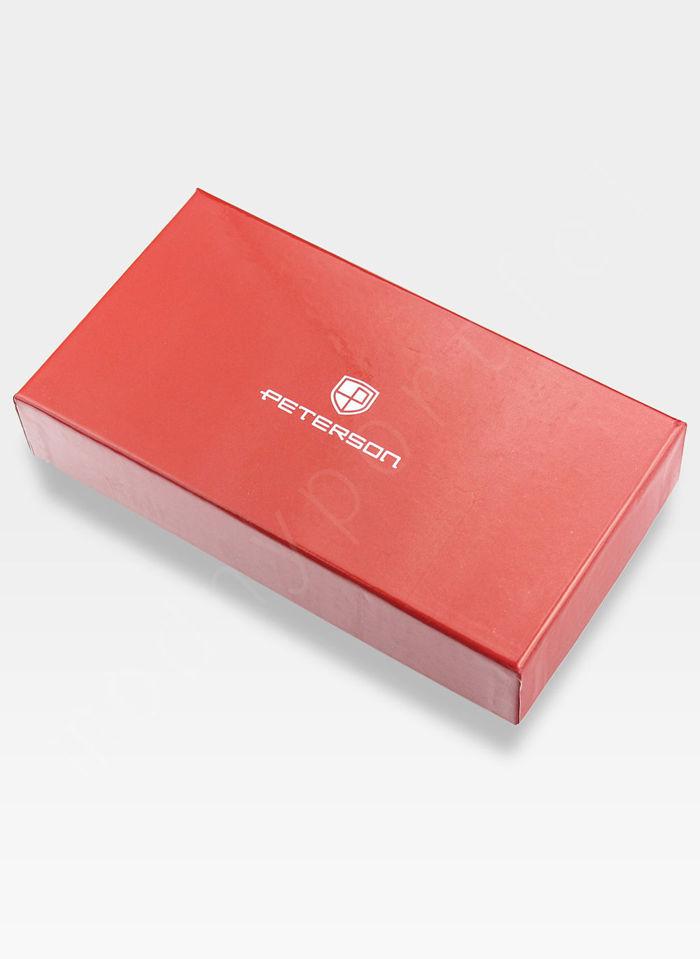 Portfel Damski Skórzany PETERSON Lakierowany 601 Czerwony + Beż