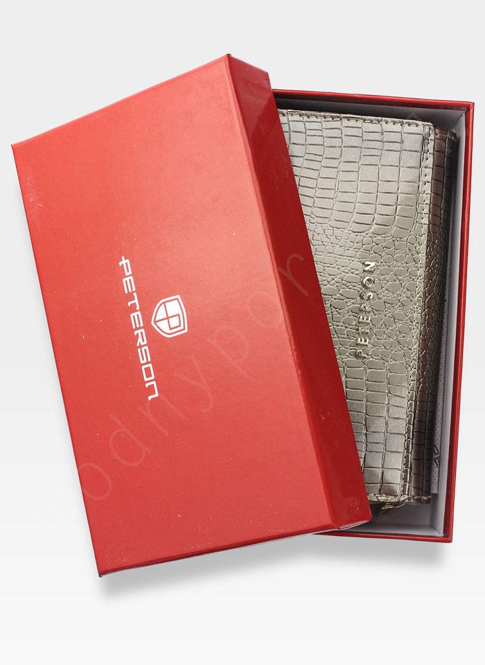 Portfel Damski Skórzany PETERSON Lakierowany 601 Srebrny+Beż