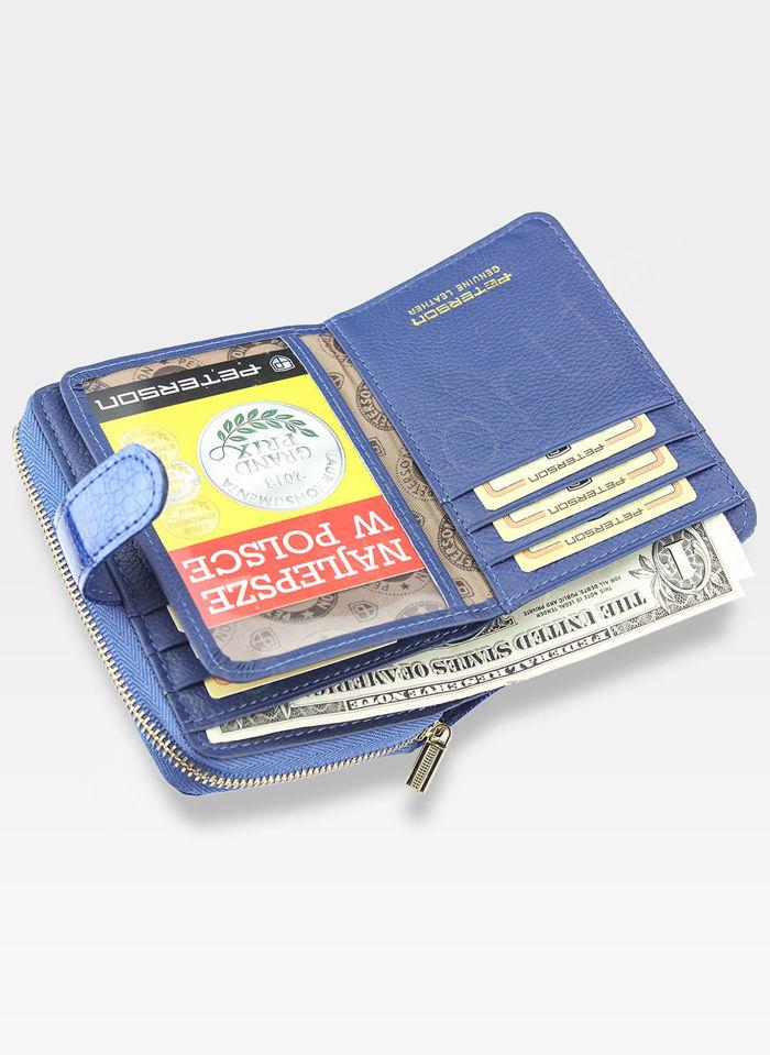 Portfel Damski Skórzany PETERSON Lakierowany 602 Niebieski