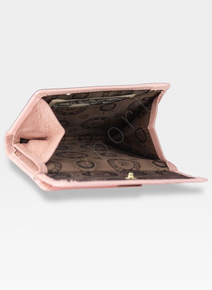 Portfel Damski Skórzany PETERSON Lakierowany Magic z Tunelem 499 PZ209 Jasny Różowy