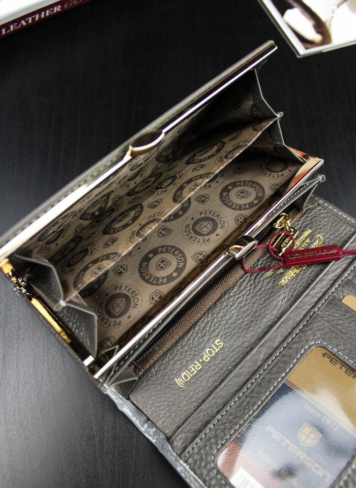 Portfel Damski Skórzany PETERSON Lakierowany POPIEL System RFID 466