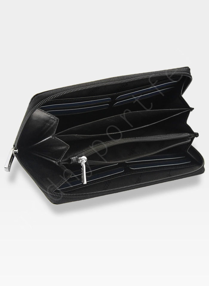 Portfel Damski Skórzany PUCCINI Czarny Kolekcja Orion 3D Wytłoczona Tekstura E1962
