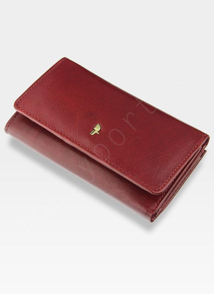 Portfel Damski Skórzany PUCCINI Czerwony z Biglem MU 1805