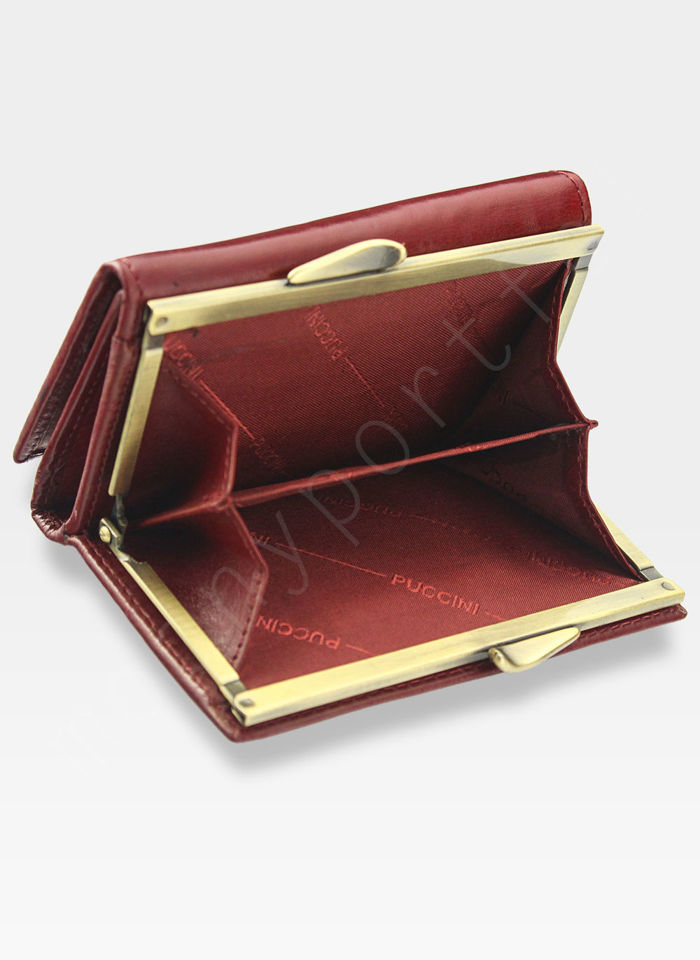 Portfel Damski Skórzany PUCCINI Czerwony z Biglem MU1950