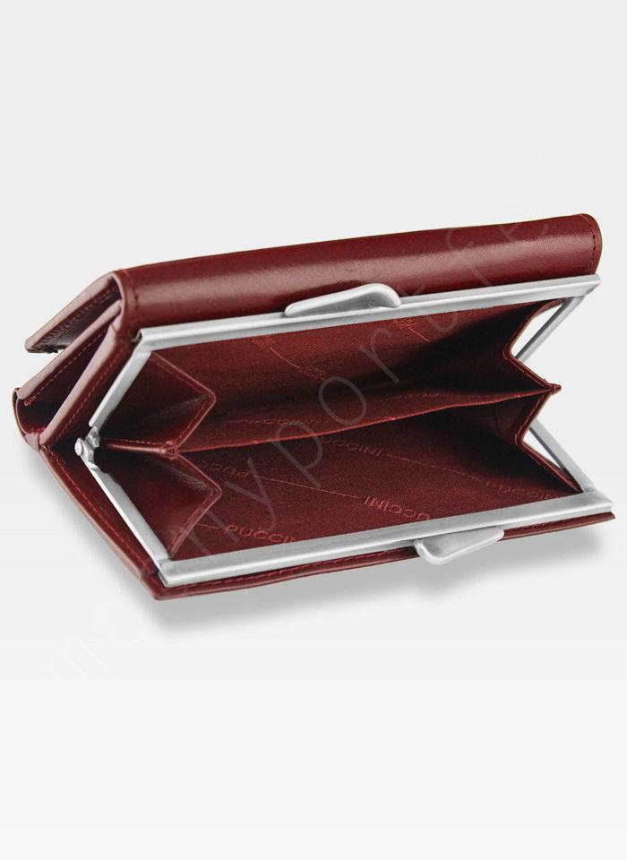 Portfel Damski Skórzany PUCCINI Czerwony z Biglem PL 1805