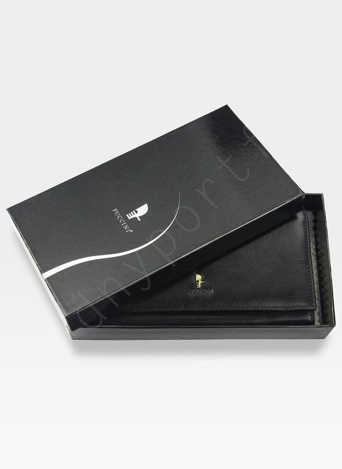 Portfel Damski Skórzany PUCCINI Klasyczny Czarny z Biglem 1704P