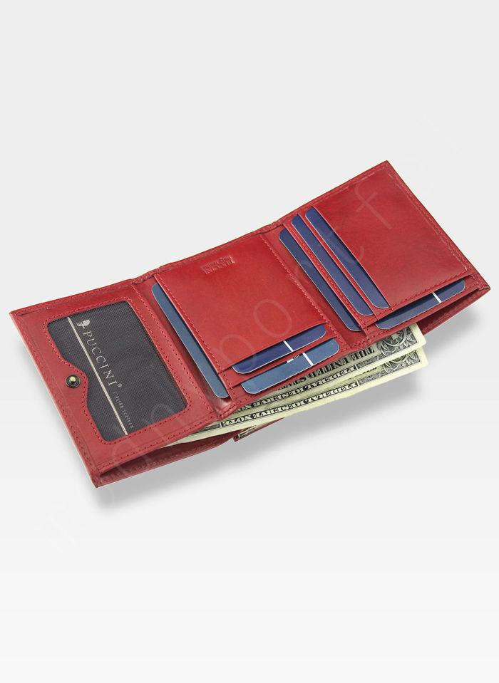 Portfel Damski Skórzany PUCCINI Klasyczny Czerwony z Biglem 1701P Mały